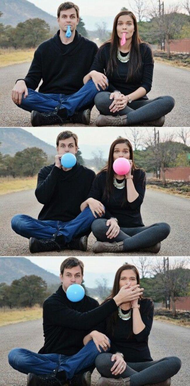 foto para revelar sexo do bebê com balões