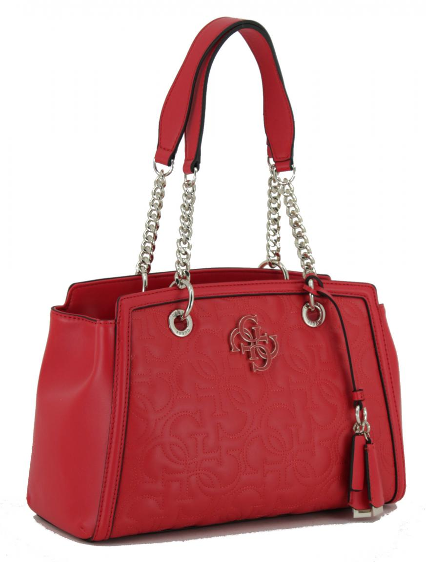 Guess New Wave Red Henkeltasche Kette Gesteppt Logo Rot