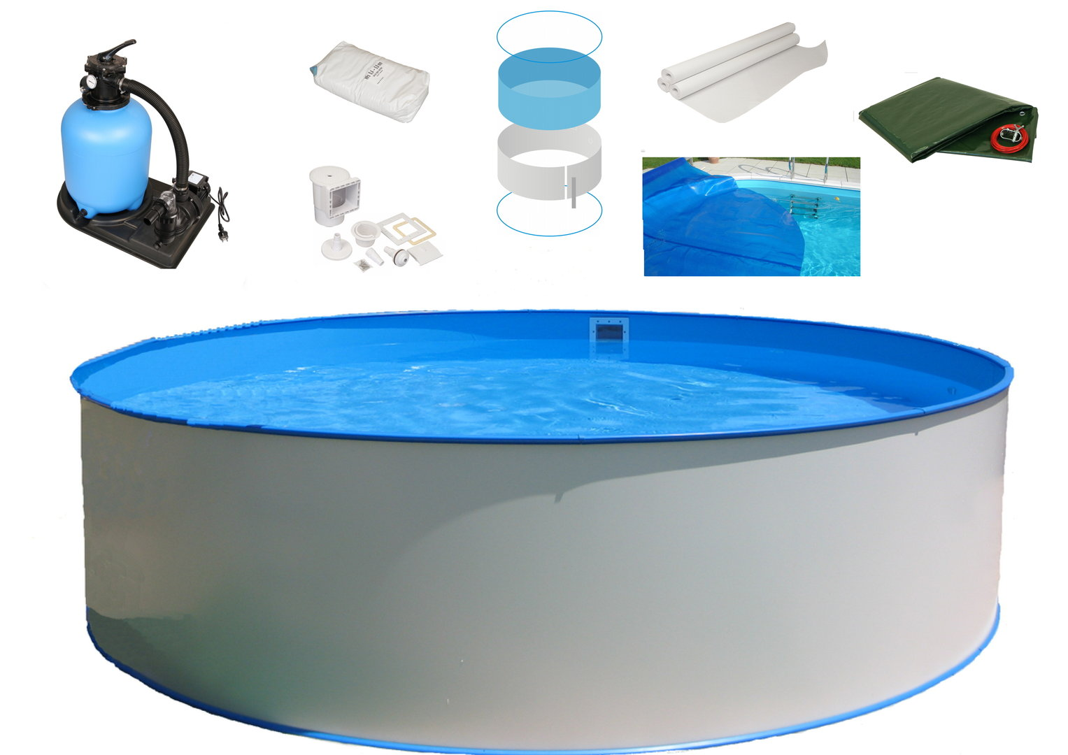 Pool Polyesterbecken Rund Stahlwandpool Komplettset All In One H120 Ø350cm Basic
