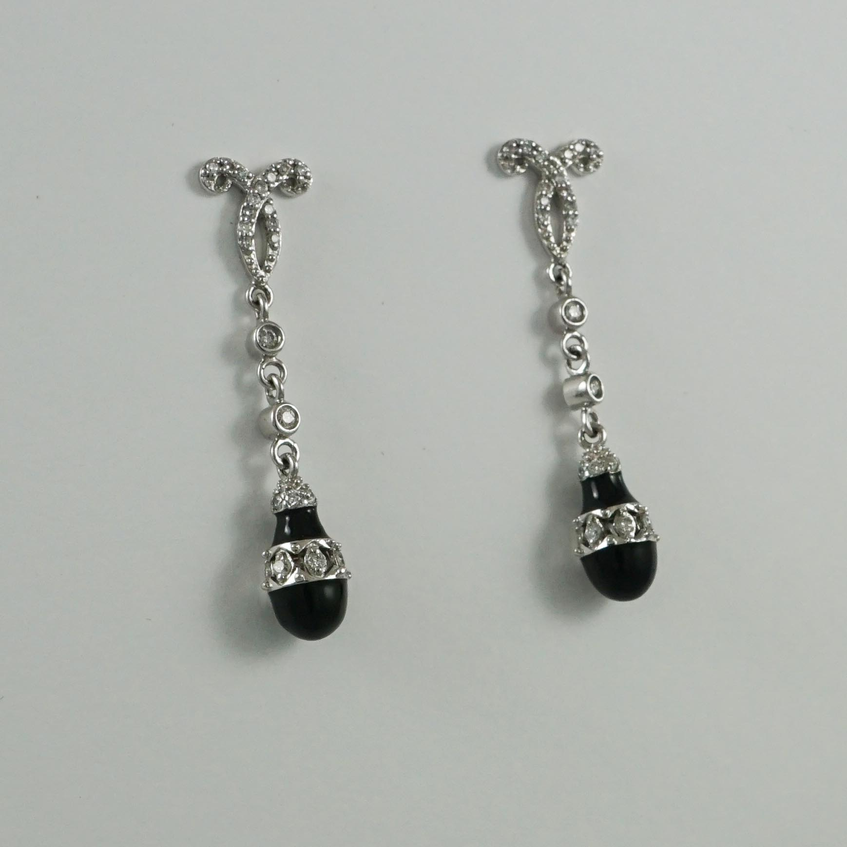Art Deco Style Earrings Uk Art Deco Style Onyx Diamond Drop Earrings 9ct White Gold