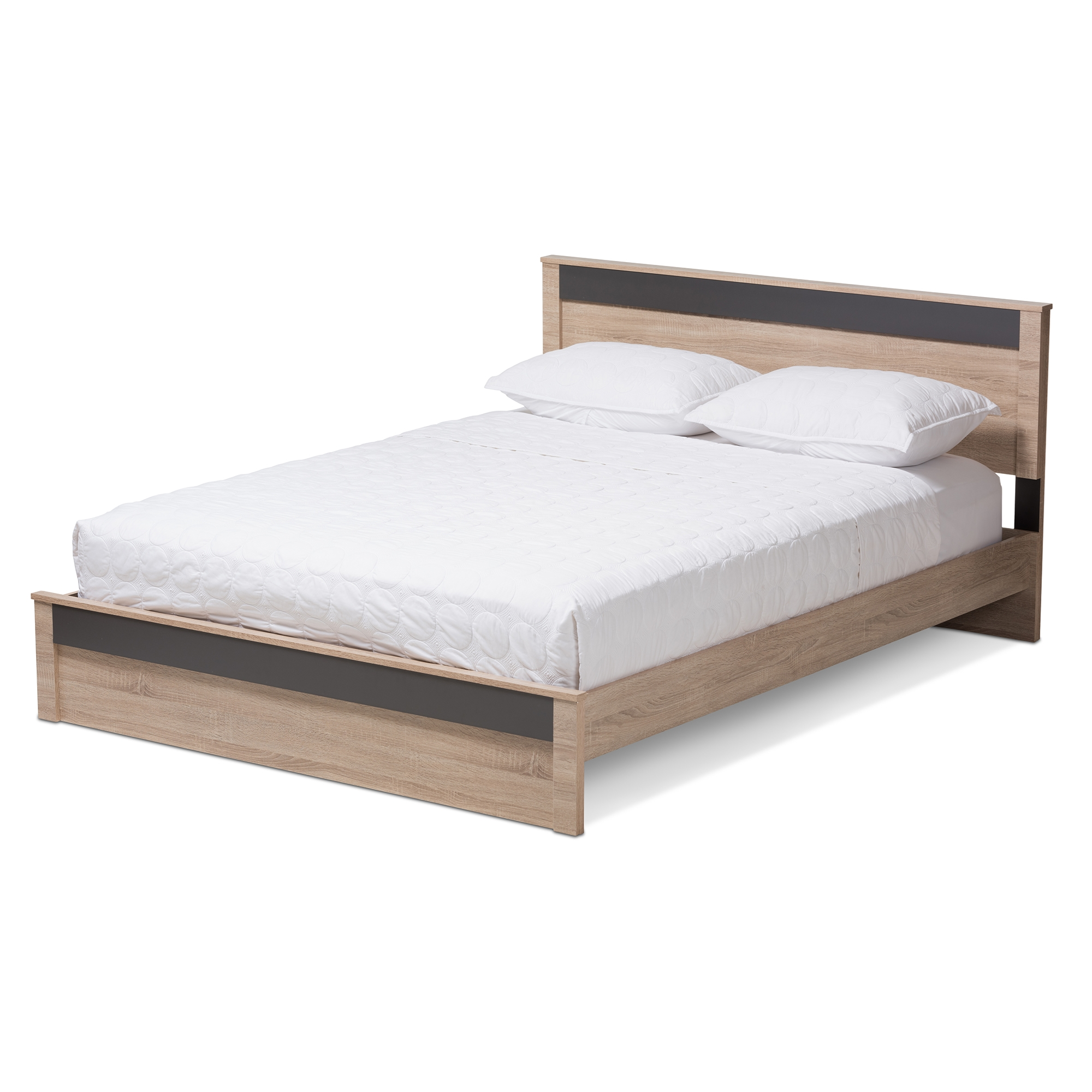 Size Of Queen Bed Baxton Studio Jamie Modern And Contemporary Two Tone Oak And Grey