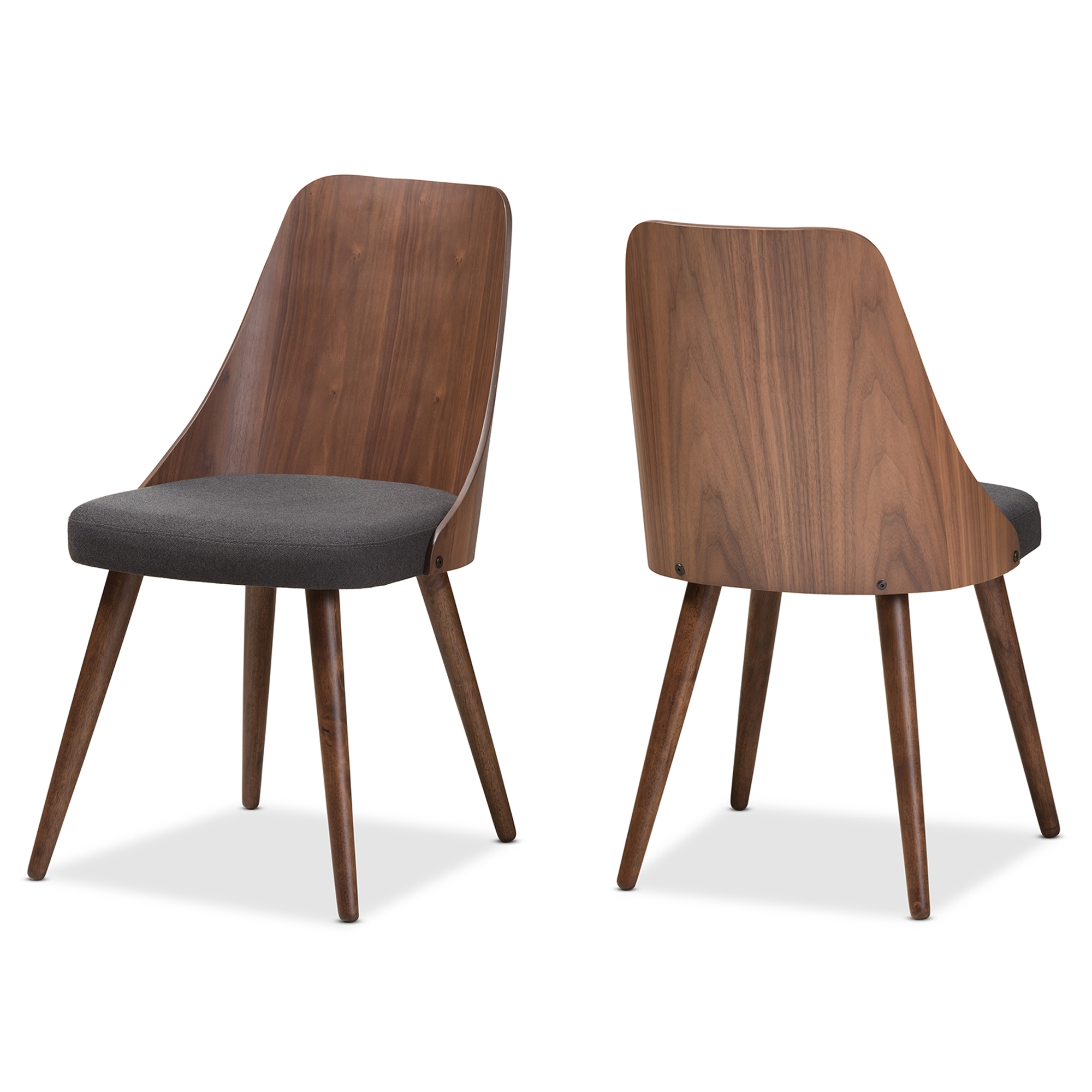Modern Wooden Dining Room Chairs Baxton Studio Romily Mid Century Modern Walnut Wood Dark