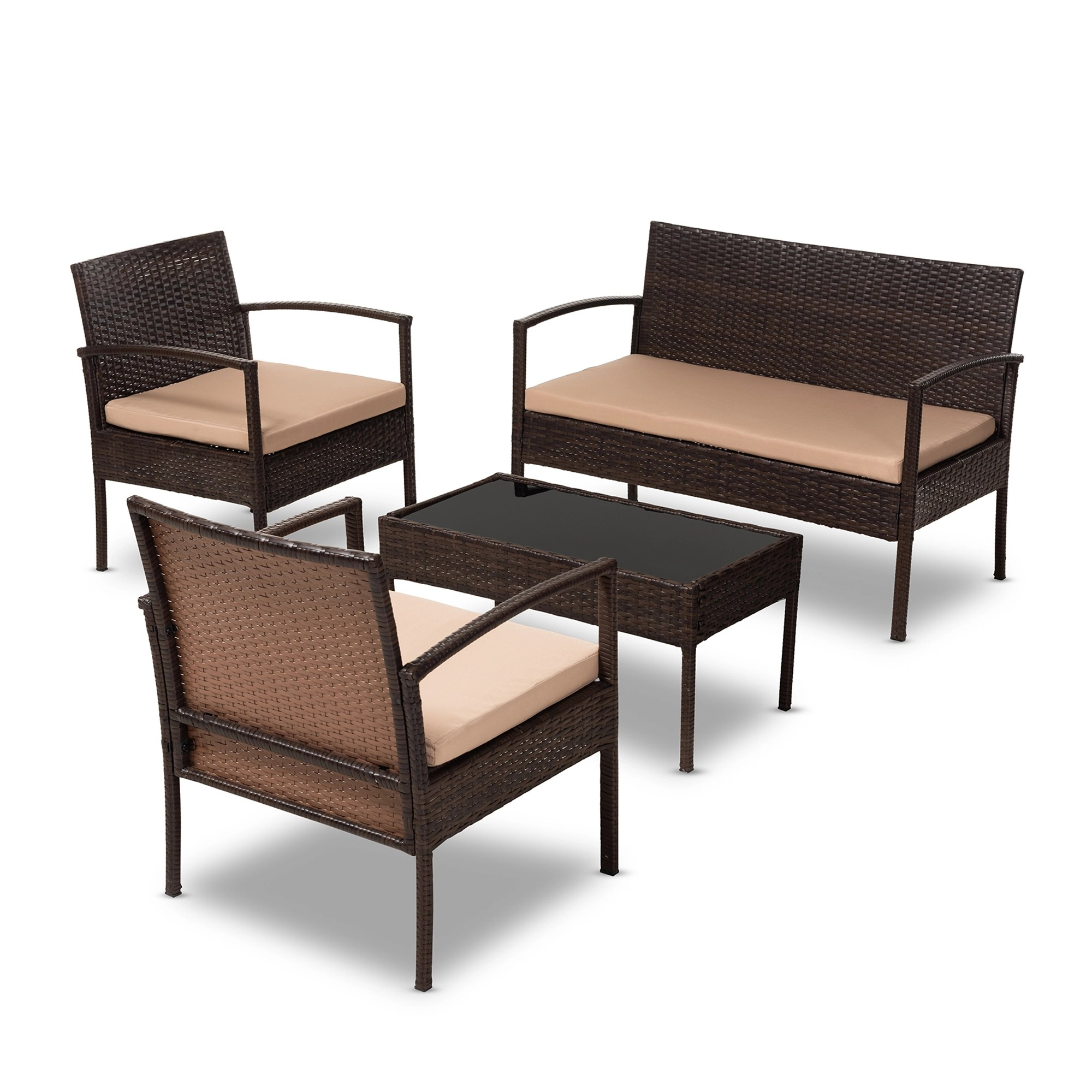 Lounge Set Rattan Baxton Studio Aronne Modern And Contemporary Beige Fabric