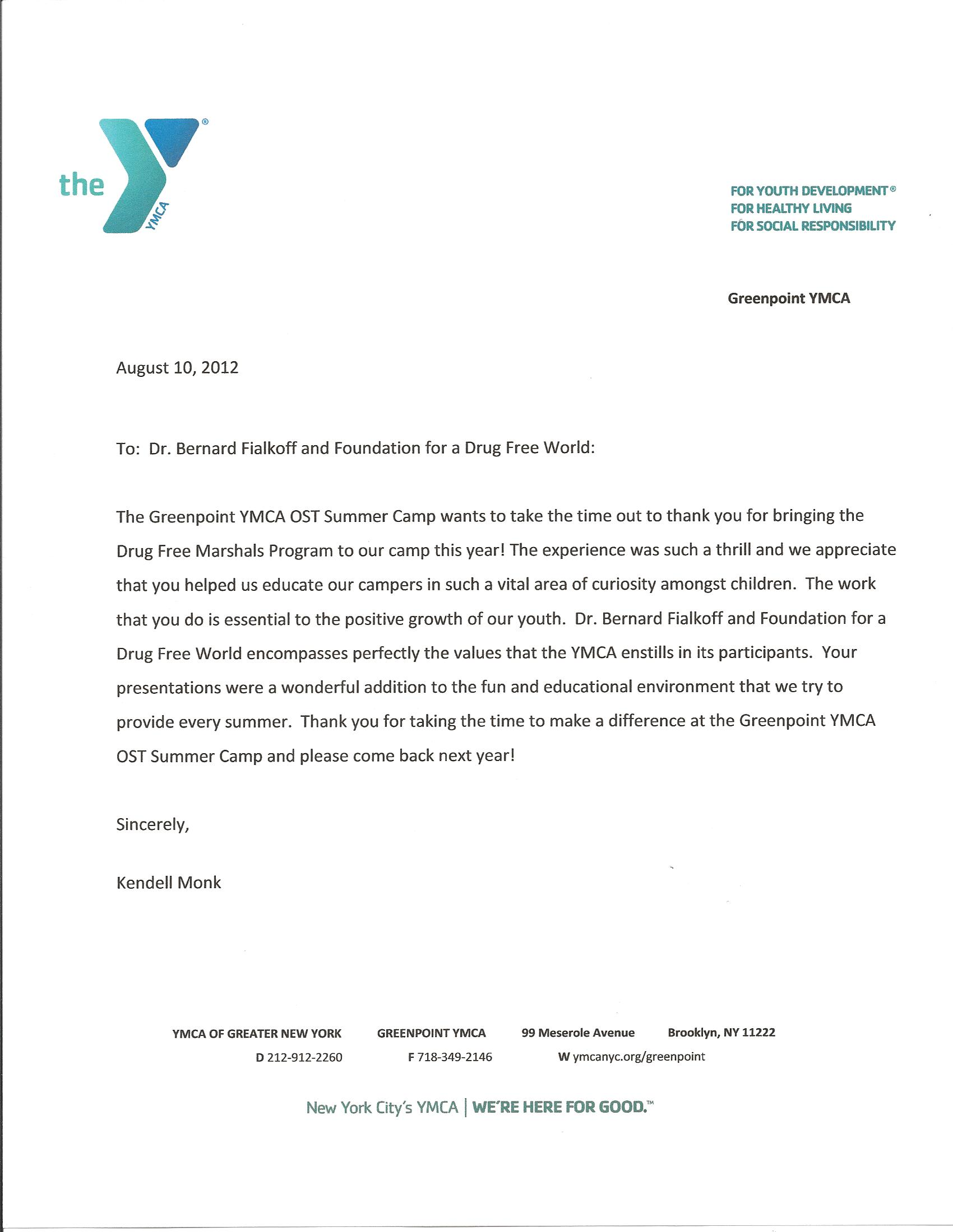 Ymca Job Interview Cover Letter To Ymca For A Job Sample