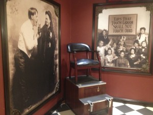 Prohibition posters and a shoeshine stand