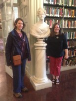 Lory and Charlotte with a bust of Anna McCurdy Hall, wife of USS Constitution commander, Isaac Hull.
