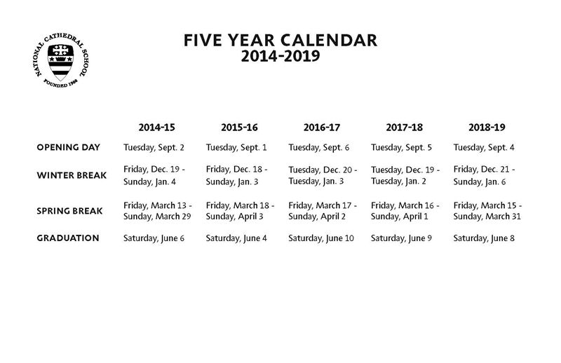 National Cathedral School Five-Year Calendar Now Available