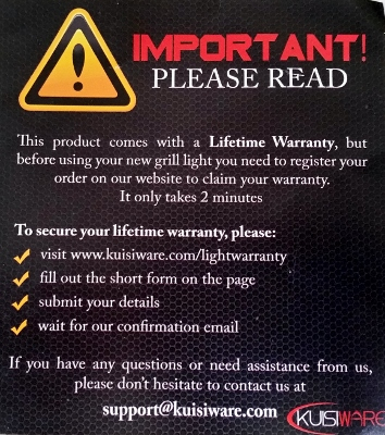 BBQ Grill Light Review Warranty 2