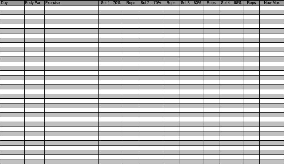 Blank Workout Sheet Training Log Template Download In Word Sample