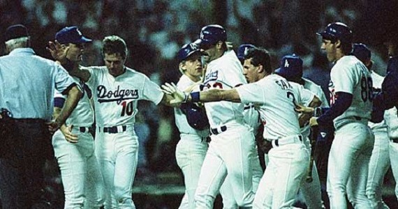 Kirk Gibson, 1988, World Series Game 1. Getty images.