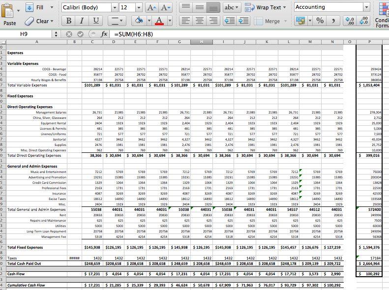pro forma cash flow statement template