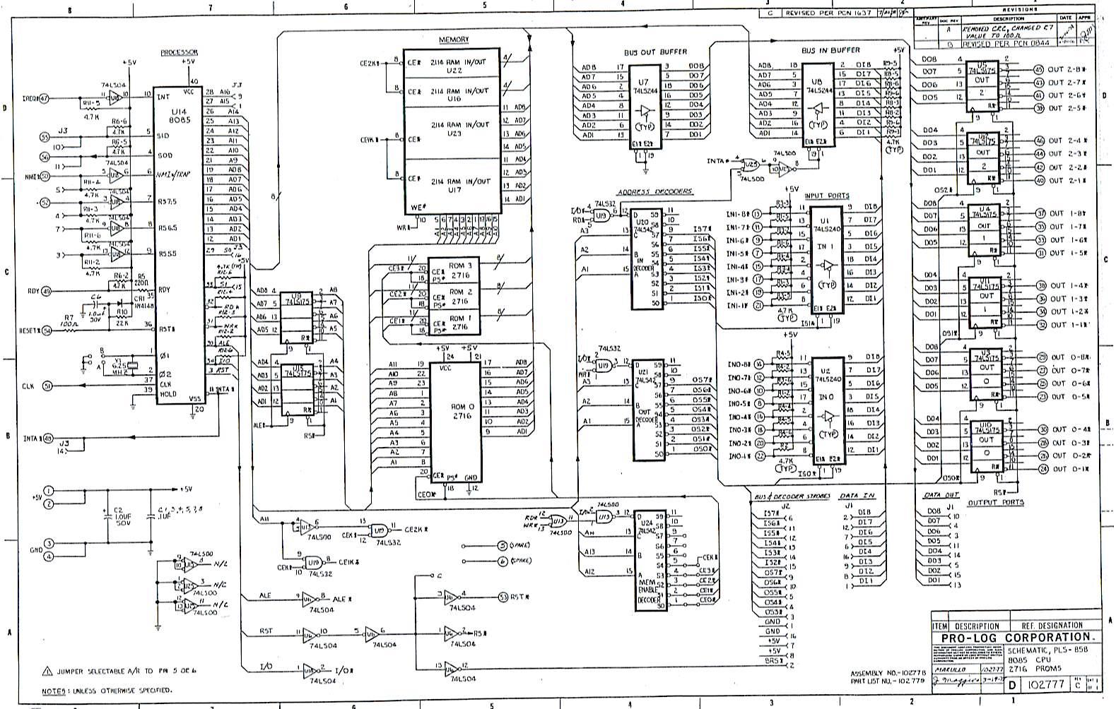 microprocessor schematic and block diagram