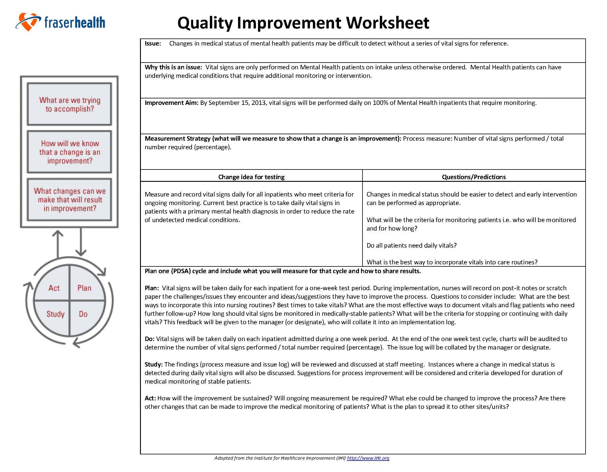 Improving medical monitoring of mental health patients at – Vital Signs Worksheet