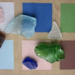 Sea Glass pieces and detail image before application to art bra.