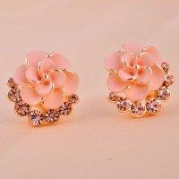 Sweet Nice Pink Camellia Rhinestone Earrings&Stud on Luulla