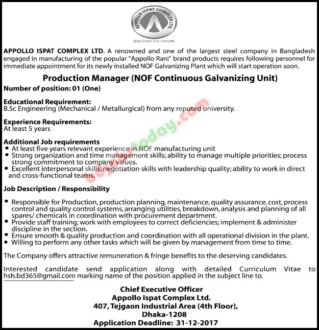 Appollo Ispat Complex Ltd, \ - production manager job description