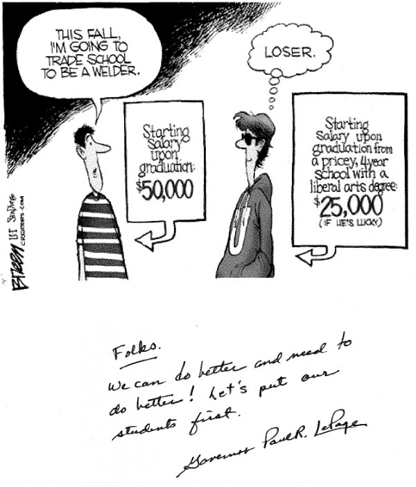 Wage data don\u0027t support technical-education cartoon LePage mailed