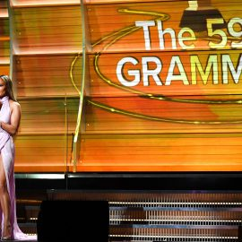 LOS ANGELES, CA - FEBRUARY 12: Singer/Actor Jennifer Lopez speaks onstage during The 59th GRAMMY Awards at STAPLES Center on February 12, 2017 in Los Angeles, California.   Kevork Djansezian/Getty Images/AFP