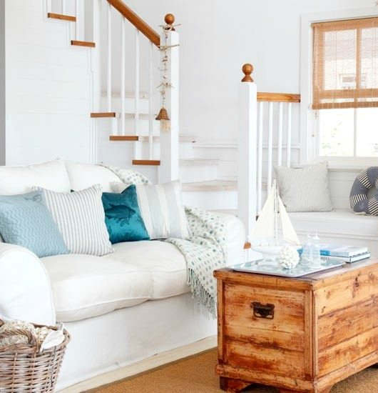 Bring The Shore Into Home With Beach Style Living Room: Soft Blue & White Decor Ideas To Turn Your Living Room Into A Bright & Happy Beach Oasis