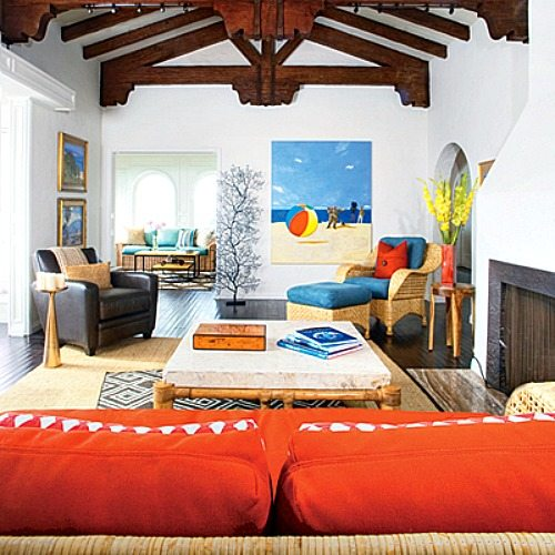 Bright blue and orange for a happy laguna beach home for Blue and orange room