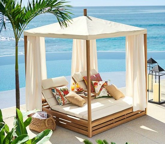 Bring a beach cabana to the backyard for the ultimate lounging