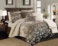 Brown and Beige Bamboo Leaves Tropical Comforter Set