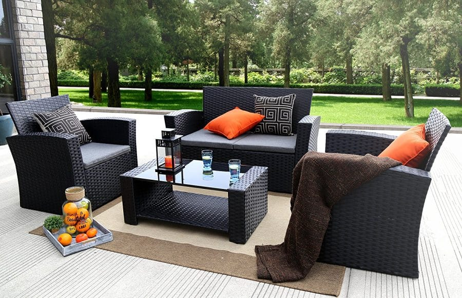 Outdoor Sofa Rattan Baner Garden 4 Pc Outdoor Wicker Cushion Seating Set