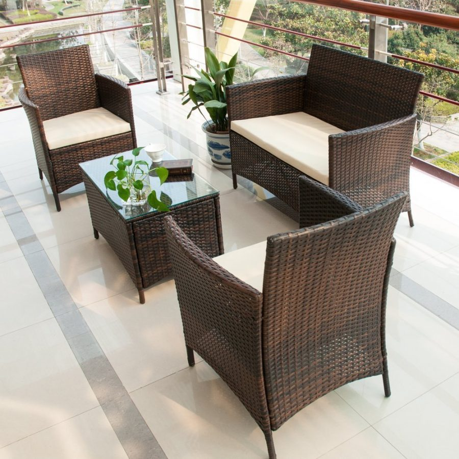 Rattan Sofa Near Me Merax 4 Pc Brown Wicker Rattan Furniture Set