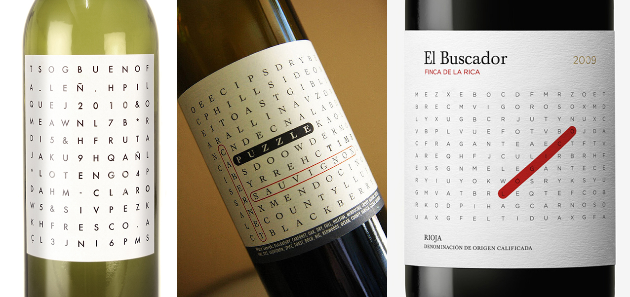 Word Search Wine Labels