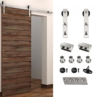 5-8FT Sliding Barn Door Hardware Stainless Single Door ...