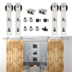 8 16ft Double Sliding Barn Door Hardware Stainless Track Kit Bent