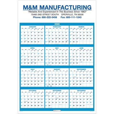 Single Sheet Wall Calendar - Full Year View 2020 - Beacon Promotions