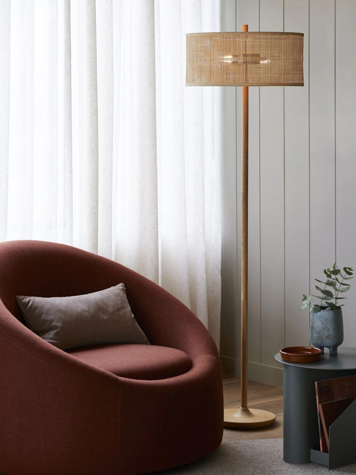 Shore 2 Light Floor Lamp In Tan Rattan Beacon Lighting