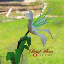 French beaded white lily by Bead Flora Studio, Bead Flora Jewels, Fen Li