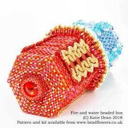 Fire and water beaded box kit and pattern, Katie Dean, Beadflowers