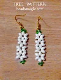 Free pattern for earrings Jasmine | Beads Magic