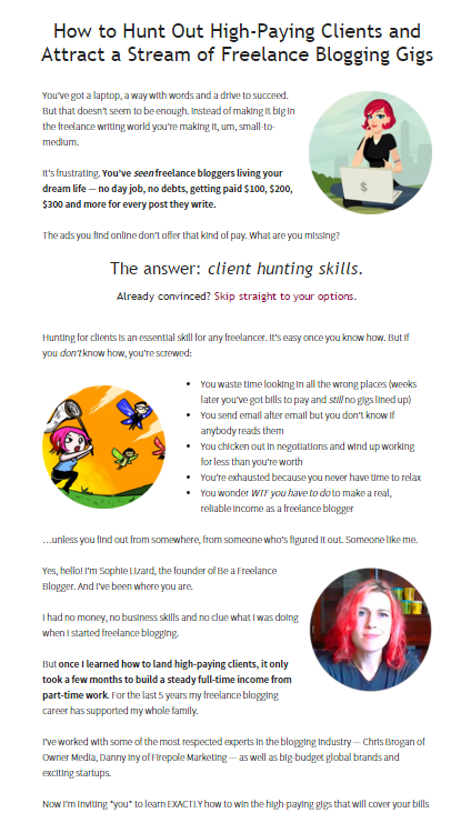 Sales page for The Freelance Blogger's Client Hunting Masterclass