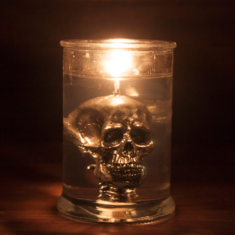 Baby Bath Silver Skull In Jar Candle • Beans And Jazz