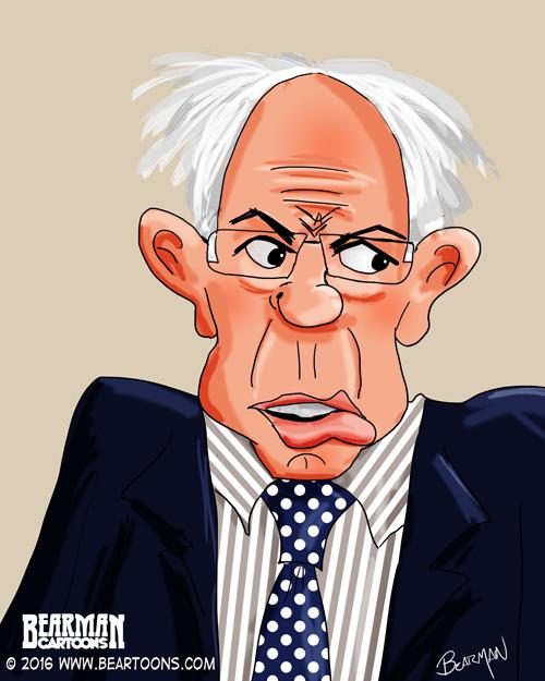 Bernie Sanders Caricature Bearman Cartoons