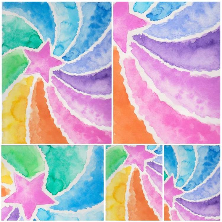 My Cancer Artwork: Whirlwind Star Watercolors