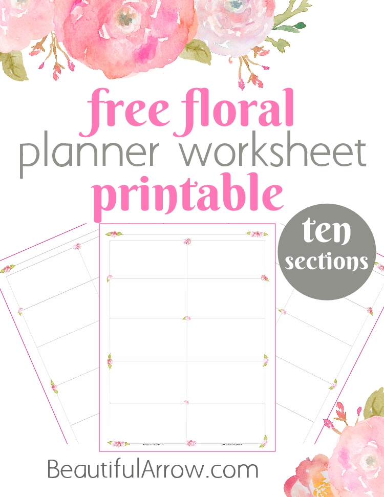 Free Floral Planning Worksheet Printable - Ten Sections
