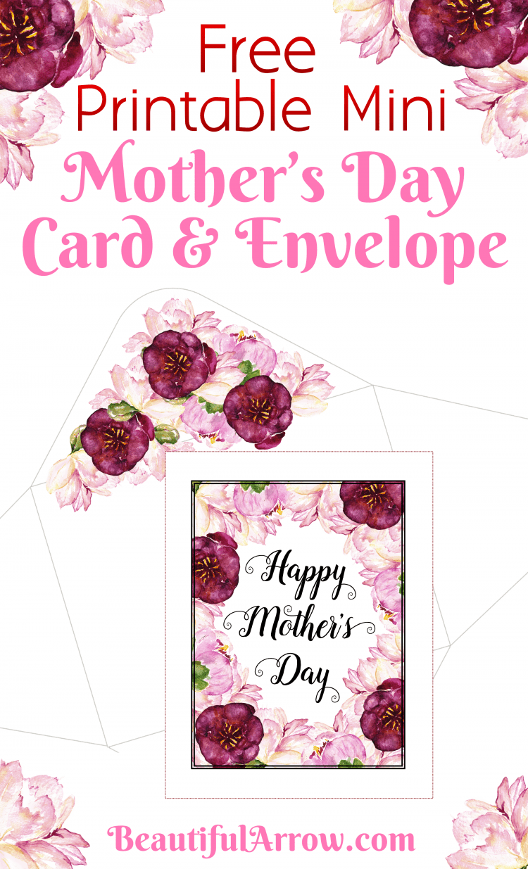 Free Printable Mini Mother's Day Card & Envelope! Prints out on two sheets of paper.