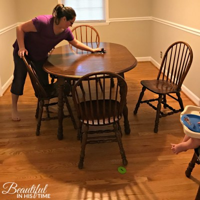 mom wiping table