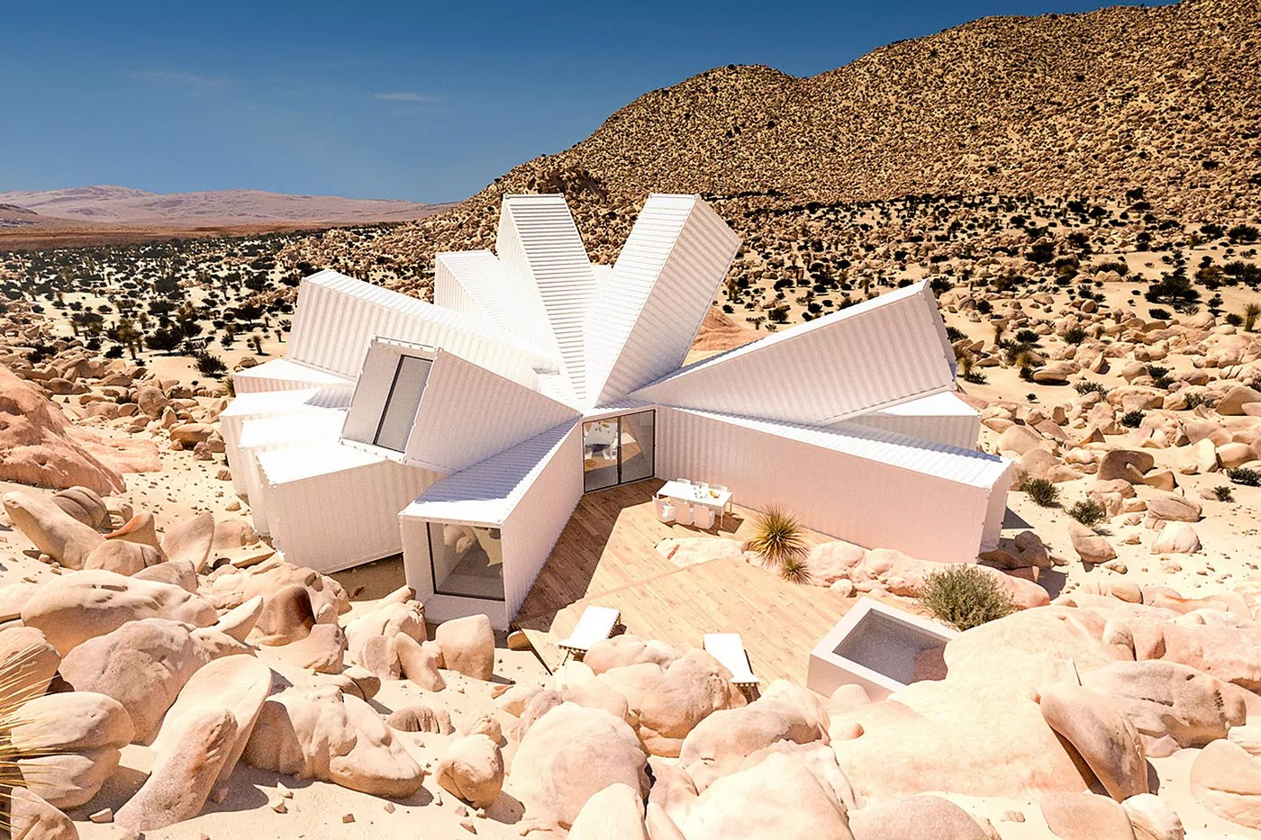 Container Haus Villa Joshua Tree Container House Made Of White Cargo Containers