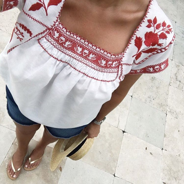 embroidered madewell top