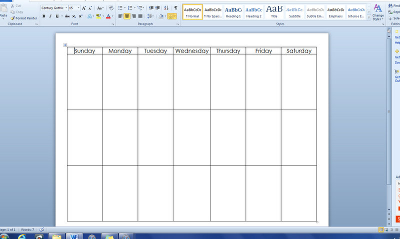 microsoft word table templates - one week calendar template word