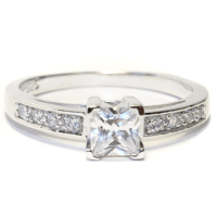 Princess Cut Diamond (White) Promise Ring - Beautiful ...