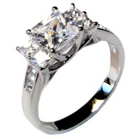 Princess Cut Promise Ring with 5 Diamond (White) Cubic ...