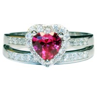 Ruby Heart Promise Ring With Band - Red Cubic Zirconia ...