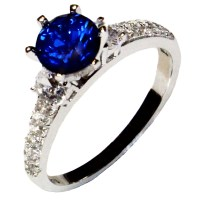 Solitaire Sapphire Promise Ring - Blue Cubic Zirconia ...